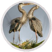 Great Blue Heron Couple Round Beach Towel