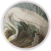 Great Egret Round Beach Towel by John James Audubon