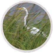 Great Egret Port Jefferson New York Round Beach Towel