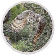 Great Horned Owl Round Beach Towel by Tam Ryan