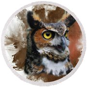 Great Horned Owl Two Round Beach Towel