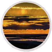 Great Salt Lake Sunset Round Beach Towel