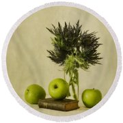 Green Apples And Blue Thistles Round Beach Towel by Priska Wettstein