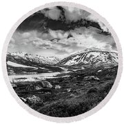 Round Beach Towel featuring the photograph Green Carpet Under The Cotton Sky by Dmytro Korol