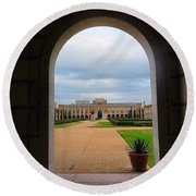 Greetings From Rice University. #framed Round Beach Towel