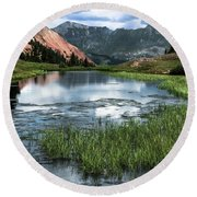 Round Beach Towel featuring the photograph Grey Copper Gulch by Jay Stockhaus