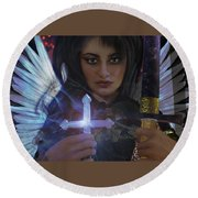 Round Beach Towel featuring the painting Guardian Angel 8 by Suzanne Silvir