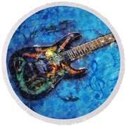 Round Beach Towel featuring the digital art Guitar Love by Ian Mitchell