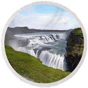 Gullfoss - Iceland Round Beach Towel