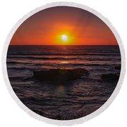 Gwithian Beach Sunset  Round Beach Towel