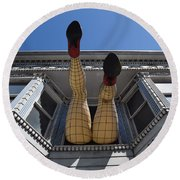 Round Beach Towel featuring the photograph Haight And Ashbury Legs by Dany Lison