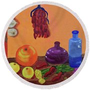 Hanging Around With Spices Round Beach Towel