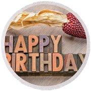 Happy Birthday Greetings Card In Wood Type Round Beach Towel