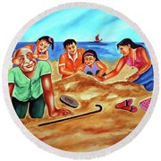 Happy Family Round Beach Towel