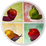 happy Fruits Round Beach Towel