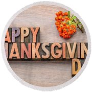Happy Thanksgiving Day In Wood Type Round Beach Towel