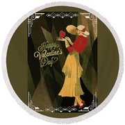Round Beach Towel featuring the digital art Happy Valentines Day by Jeff Burgess