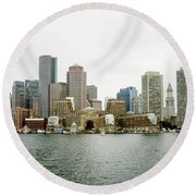 Round Beach Towel featuring the photograph Harbor View by Greg Fortier
