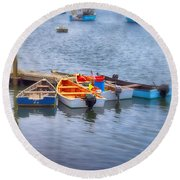 Harborside Round Beach Towel by Tricia Marchlik