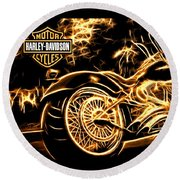 Round Beach Towel featuring the photograph Harley-davidson by Aaron Berg