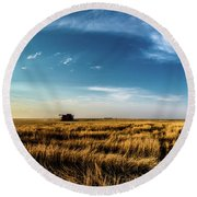 Round Beach Towel featuring the photograph Harvest by Jay Stockhaus