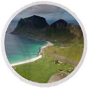 Haukland And Vik Beaches From Holandsmelen Round Beach Towel