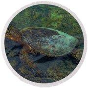 Hawaiian Sea Turtle Round Beach Towel