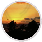 Round Beach Towel featuring the photograph Hawaiian Sunset by Anthony Jones