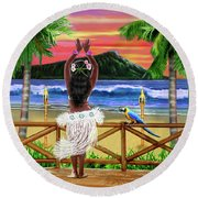 Hawaiian Sunset Hula Round Beach Towel