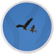 Hawk Vs Eagle Round Beach Towel