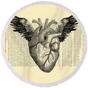 Heart With Wings Round Beach Towel