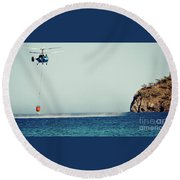 Helicopter Firefighter Take Water In The Sea Round Beach Towel