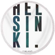 Helsinki, Finland - City Name Typography - Minimalist City Posters Round Beach Towel