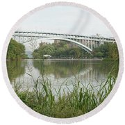 Round Beach Towel featuring the photograph Henry Hudson Bridge by Cole Thompson