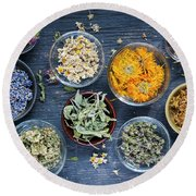 Round Beach Towel featuring the photograph Herbs by Elena Elisseeva