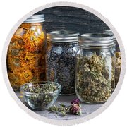 Round Beach Towel featuring the photograph Herbs In Jars by Elena Elisseeva