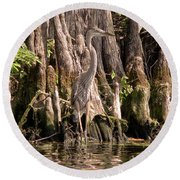 Round Beach Towel featuring the photograph Heron And Cypress Knees by Steven Sparks