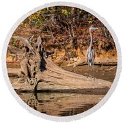 Heron Perch Round Beach Towel
