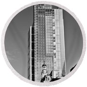 Heron Tower London Black And White Round Beach Towel by Gary Eason