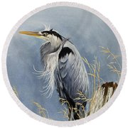 Round Beach Towel featuring the painting Herons Windswept Shore by James Williamson