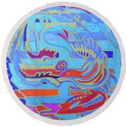 Round Beach Towel featuring the painting Hexagram 22-pi by Denise Weaver Ross
