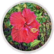 Hibiscus Flower Round Beach Towel by Lewis Mann