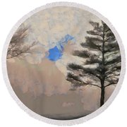 Round Beach Towel featuring the mixed media Hickory by Trish Tritz