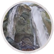 Round Beach Towel featuring the painting High Shoals Falls by Joel Deutsch