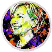 Hillary Clinton Round Beach Towel by Svelby Art