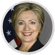 Hillary Clinton Round Beach Towel by War Is Hell Store