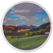 Hills Of Upstate New York Round Beach Towel