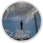 Hillsboro Inlet Lighthouse Round Beach Towel by Louis Ferreira