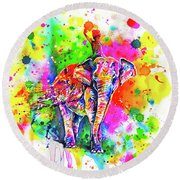 Round Beach Towel featuring the painting Holi Decorated Indian Elephant by Zaira Dzhaubaeva
