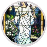 Round Beach Towel featuring the photograph Holy Angel by The Art of Alice Terrill
